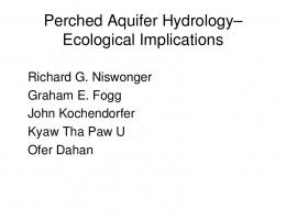 Perched Aquifer Hydrology - Center for Watershed Sciences