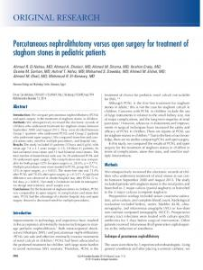 Percutaneous nephrolithotomy versus open surgery for treatment of ...
