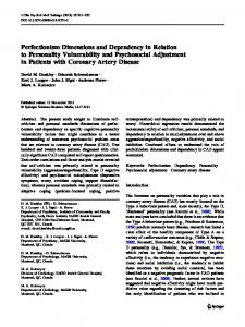 Perfectionism Dimensions and Dependency in Relation to Personality ...