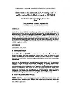 Performance Analysis of AODV using HTTP traffic under Black Hole ...