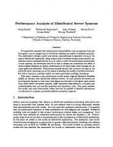 Performance Analysis of Distributed Server Systems - CiteSeerX