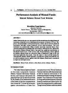 Performance Analysis of Mutual Funds - KSOM