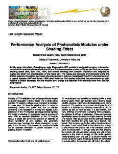 Performance Analysis of Photovoltaic Modules under Shading Effect