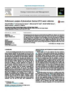 Performance analysis of photovoltaic thermal (PVT ...