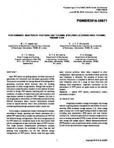 Performance Analysis of Photovoltaic Thermal (PVT)