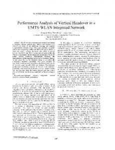 Performance analysis of vertical handover in a umts ... - IEEE Xplore