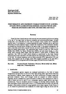 performance and emission characteristics of a diesel engine with a