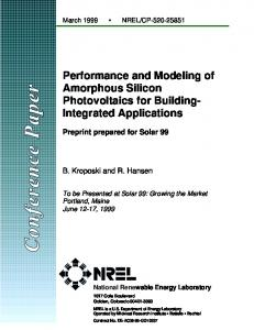 Performance and Modeling of Amorphous Silicon Photovoltaics for ...
