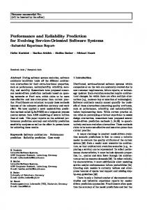 Performance and Reliability Prediction for Evolving ... - Semantic Scholar