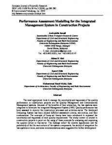 Performance Assessment Modelling for the Integrated Management ...