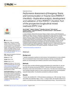 Performance Assessment of Emergency Teams and Communication