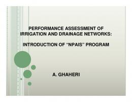 Performance Assessment of Irrigation and Drainage Networks
