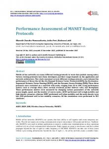 Performance Assessment of MANET Routing ... - Semantic Scholar