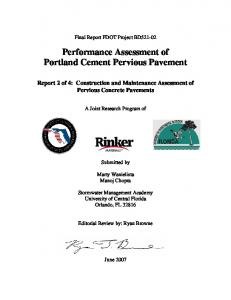 Performance Assessment of Portland Cement Pervious Pavement