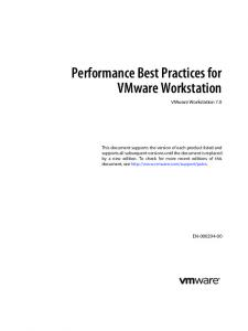 Performance Best Practices for VMware Workstation