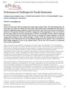 Performance & Challenges for Family Businesses