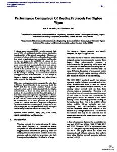 Performance Comparison Of Routing Protocols For Zigbee Wpan