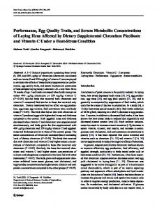 Performance, Egg Quality Traits, and Serum Metabolite ... - Springer Link