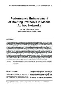 Performance Enhancement of routing Protocols in ...