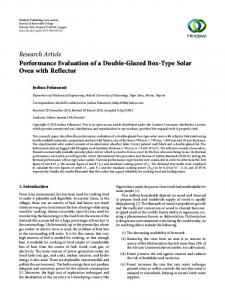 Performance Evaluation of a Double-Glazed Box-Type Solar Oven ...