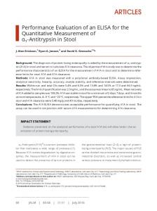 Performance Evaluation of an ELISA for the Quantitative Measurement ...