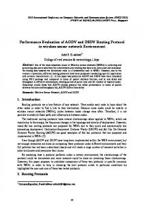 Performance Evaluation of AODV and DSDV Routing Protocol in ...