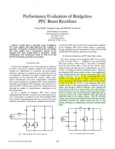 Performance Evaluation of Bridgeless PFC Boost Rectifiers