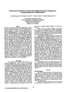 Performance Evaluation of Computerized Clinical Protocols for ...