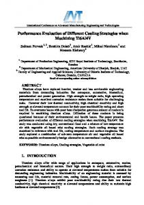 Performance Evaluation of Different Cooling ...