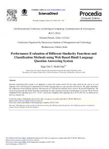 Performance Evaluation of Different Similarity Functions and