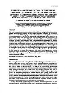 performance evaluation of different types of cutting fluid in ... - umexpert