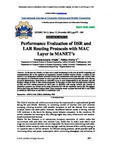 Performance Evaluation of DSR and LAR Routing Protocols with MAC ...