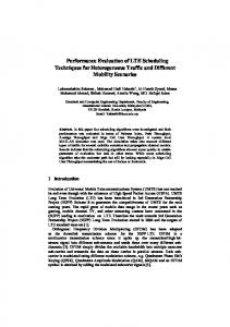 Performance Evaluation of LTE Scheduling ... - Semantic Scholar