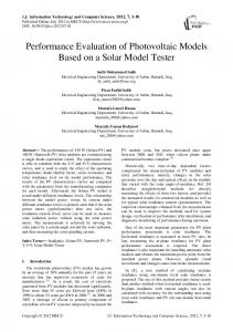 Performance Evaluation of Photovoltaic Models Based on a Solar ...
