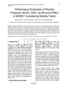 Performance Evaluation of Routing Protocols (AODV, DSR, OLSR and ...