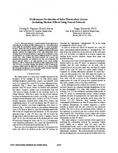 Performance Evaluation of Solar Photovoltaic Arrays Including ...