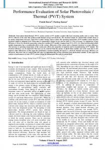 Performance Evaluation of Solar Photovoltaic / Thermal (PV/T) System