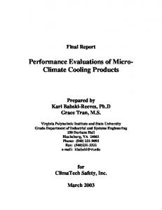 Performance Evaluations of Micro- Climate Cooling Products
