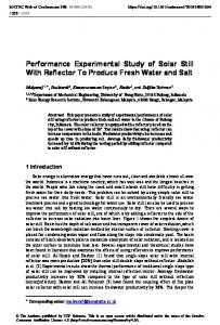 Performance Experimental Study of Solar Still With Reflector To