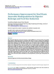 Performance Improvement for Sisal Waste Anaerobic Biodegradation ...