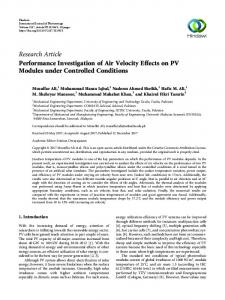 Performance Investigation of Air Velocity Effects on PV Modules under ...
