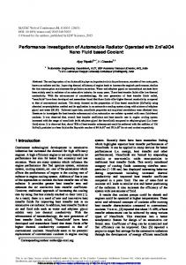 Performance Investigation of Automobile Radiator Operated with ...
