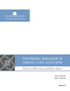 Performance management in comPlex, Place-Based Work