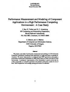 Performance Measurement and Modeling of Component Applications ...