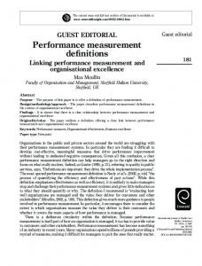 Performance measurement definitions. Linking performance ...