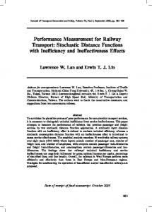 Performance Measurement for Railway Transport ... - CiteSeerX