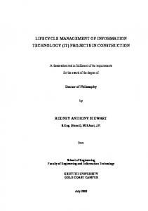 performance measurement of information technology - Griffith University