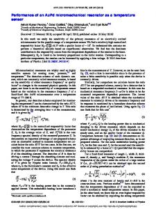Performance of an AuPd micromechanical resonator as a temperature ...
