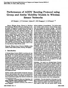 Performance of AODV Routing Protocol using