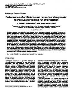 Performance of artificial neural network and ... - Academic Journals